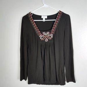 LOFT Petites Knit Embroidered Beaded Brown Top LP